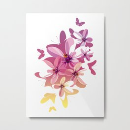Flower Butterflies Metal Print