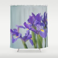 iris Shower Curtains featuring iris by shannonblue