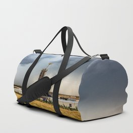 Nevermind the Weather - Oil Rig and Passing Storm in Oklahoma Duffle Bag