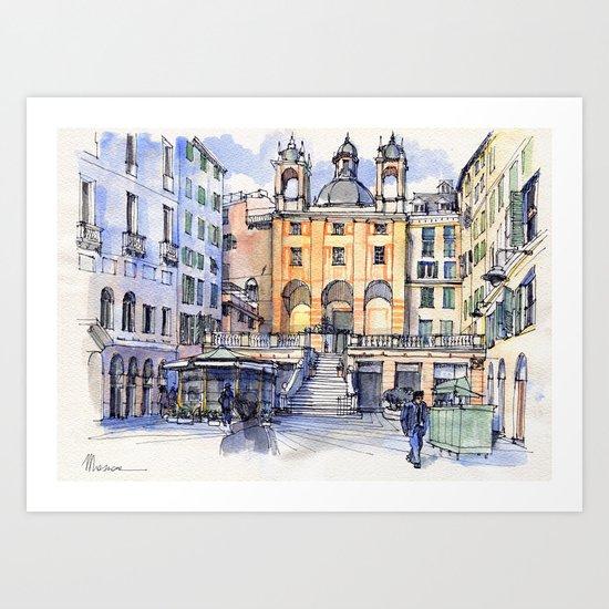Genova, Piazza Banchi Art Print