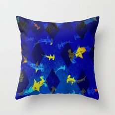 Argyle Frenzy in Lapis Throw Pillow