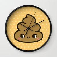 poop Wall Clocks featuring Cutey poop by Holly