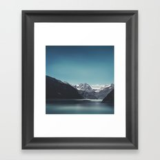 turquoise mountain lake Framed Art Print