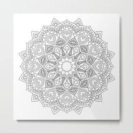 White and black mandala with hearts Metal Print