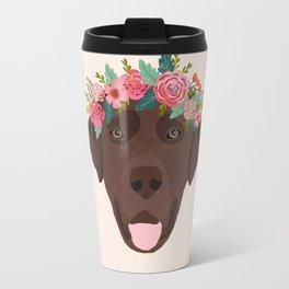 Chocolate Lab floral crown dog breed pet art labrador retrievers dog lovers giftsChocolate Lab flora Travel Mug