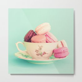 Vintage cup with macaroons Metal Print