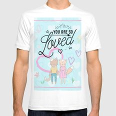 You are So Loved - Cute Fox and Cat Love MEDIUM Mens Fitted Tee White