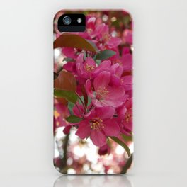 red crabapple flowers and sunset bokeh iPhone Case