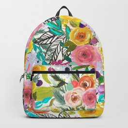 Vibrant Autumn Floral with Turquoise Backpack