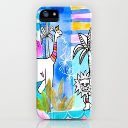 Unlikely Friends Painting - Lion Dinosaur Palm Trees iPhone Case