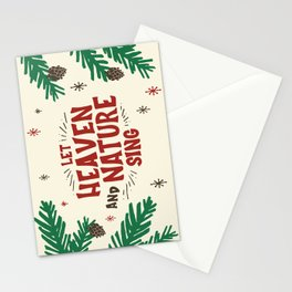 Let Heaven and Nature Sing Vintage Christmas Holiday Lettering Illustration Stationery Cards