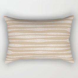Birchbark Textured Stripe Pattern in Birch Beige Rectangular Pillow