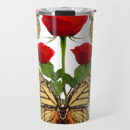 RED ROSES  & MONARCH BUTTERFLIES ART Travel Mug
