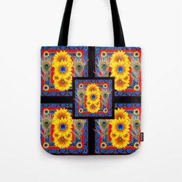 BLUE PEACOCK JEWELED SUNFLOWERS DECO ABSTRACT Tote Bag