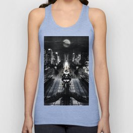 Poster with a biker on a motorcycle in the form of an angel looking into the distance of the urban v Unisex Tank Top