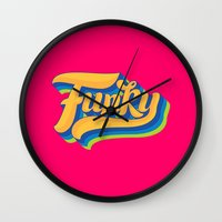 funky Wall Clocks featuring Funky by Roberlan Borges
