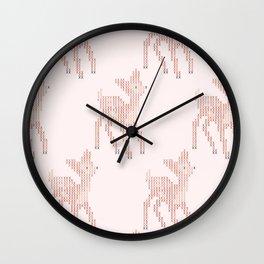 Little deer/fawn cross stitch pattern in pink Wall Clock
