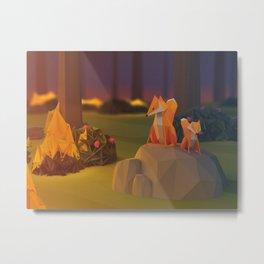 3D Fox on a Stone Metal Print