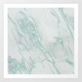 Marble Love Mint Metallic Kunstdrucke