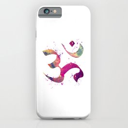 Om Art Colorful Purple Watercolor Gift Aum Symbol Peace Art Spiritual Symbol iPhone Case