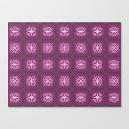 Plum, green and white tiles Canvas Print