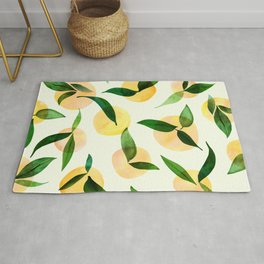 Sunny Lemon Print ~ Yellow and Green Rug