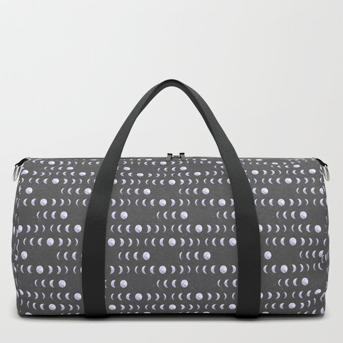 Moon Phases on Textured Grey Duffle Bag