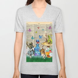 Alice In Wonderland Dictionary Page Celebration Unisex V-Neck