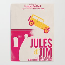 Jules et Jim, François Truffaut, minimal movie Poster, Jeanne Moreau, french film, nouvelle vague Poster