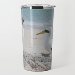 Masked Boobies on a beach Travel Mug