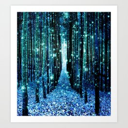 Magical Forest Teal Turquoise Kunstdrucke