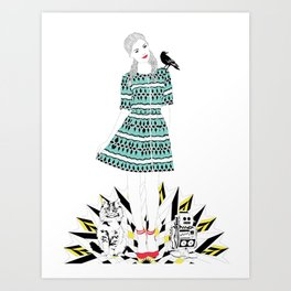 Oz: Dorothy, the Cowardly Kitty, the Tin Toy and the Scary Crow. Art Print