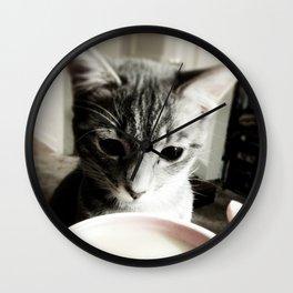 Kitteh wants some Coffee Wall Clock