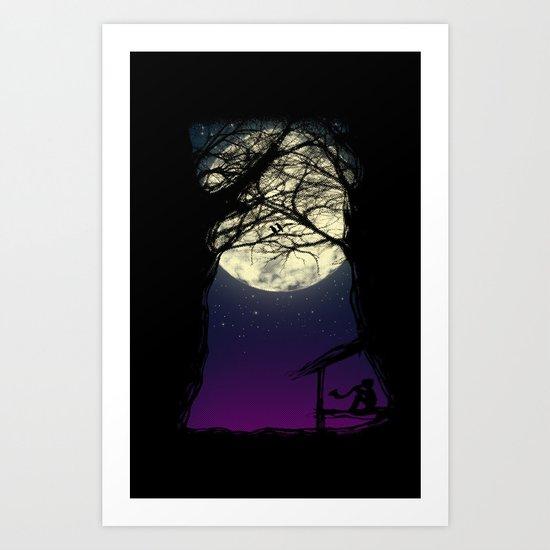 Under a full moon Art Print