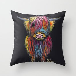 Scottish Highland Cow ' BRAVEHEART ' by Shirley MacArthur Throw Pillow