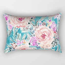 WAHINE WAYS Aqua Tropical Floral Rectangular Pillow