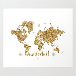 world map gold wanderlust Art Print
