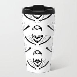 Manly Beard and Straight Razor Pattern Metal Travel Mug