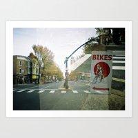 bikes Art Prints featuring bikes... by phoebe ford reid