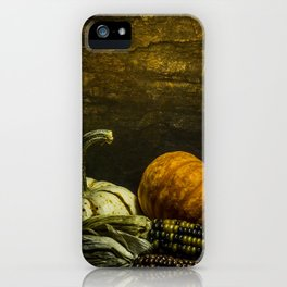 October Pumpkin, Gourd, Indian Corn Scene iPhone Case