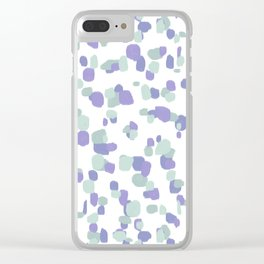 Modern Random Spots in Lilac and Sage Green Clear iPhone Case