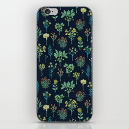 Navy Blue, Mint Green, Turquoise, Coral & Lime Floral Pattern iPhone Skin