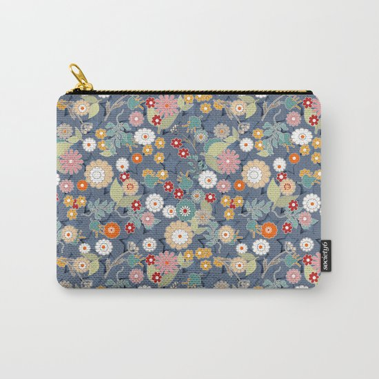 Colorful flowers on a denim background. Carry-All Pouch