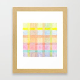 Pastel colored Watercolors Check Pattern Framed Art Print