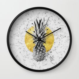 Pineapple and gold marble Wall Clock