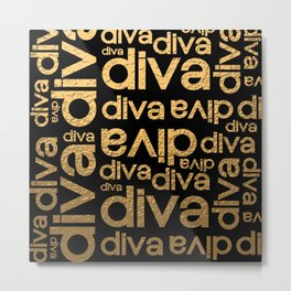Diva Gold Metallic Repeated Typography Metal Print