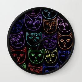 Neon Kitty Cats Wall Clock