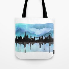 Turquoise London Skyline 2 Tote Bag