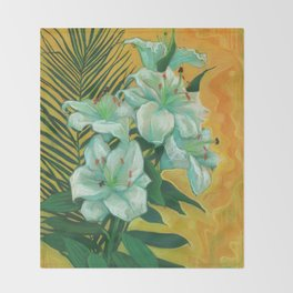 White Lilies and Palm Leaf Throw Blanket