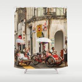 Trishaw Break II - George Town, Penang  Shower Curtain